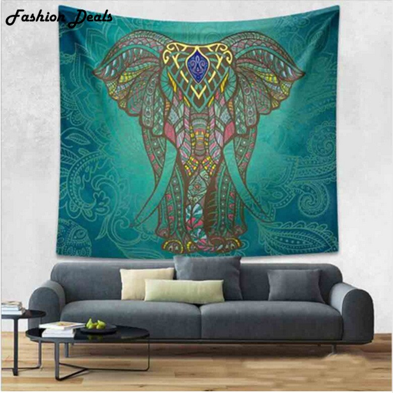 203x153cm Cotton Elephant Wall Hanging Tapestry Indian Mandala Tapestry Boho Bedspread Beach Towel Yoga Mat Blanket Table Cloth