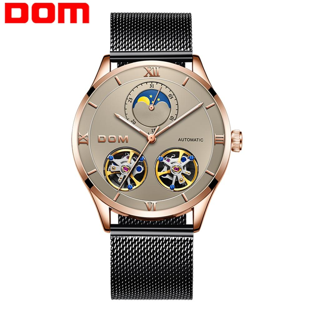 DOM Brand Men Watches Automatic Mechanical Watch Tourbillon Sport Clock Leather Casual Business Wristwatch Relojes Hombre