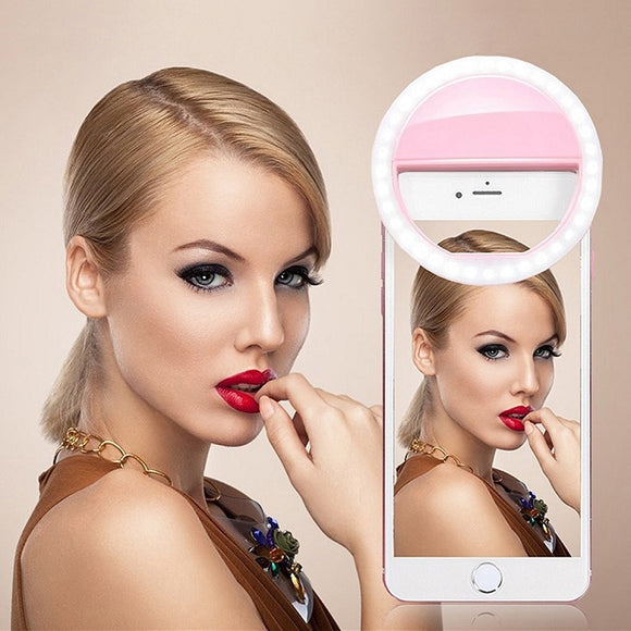 Universal Portable Selfie LED Flash Ring Light Selfie Lamp Mobile Phone Lens For IPhone Xiaomi Samsung Luminous Ring Lights