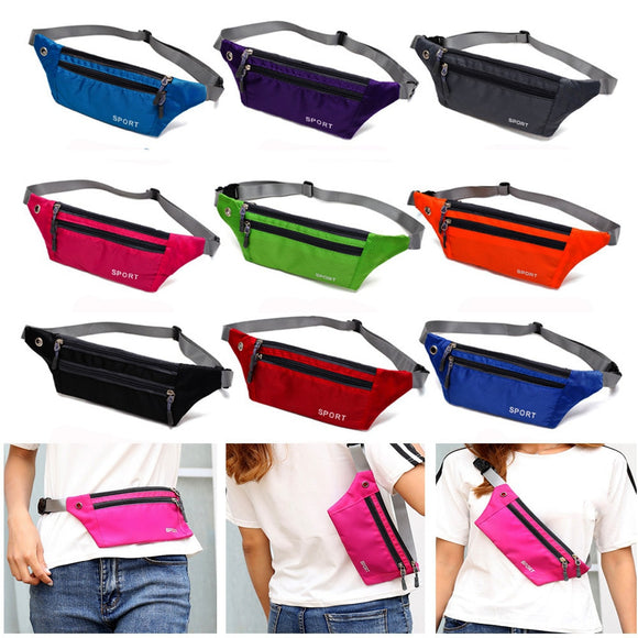 1PC Unisex 10 Colors Waterproof Nylon Sports Waistbag Chest Shoulder Bags Belt Bum Pouch Running Bag Hiking Zip Bag Outdoor Pack