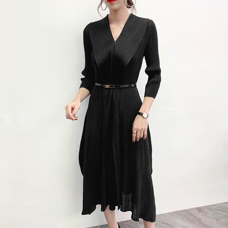 LANMREM High qualty pleated Dress for Woman 2020 spring summer new Temperament Longuette v collar clothing with belt YH709