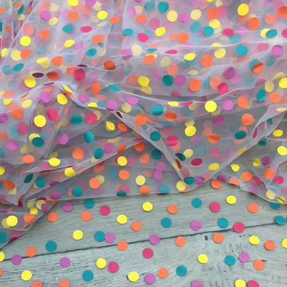 Sewing fabric TUTU dot point mesh fabric rainbow dot mesh fabric tulle skirt mesh fabric for diy woman blouse and dress 1 Yard