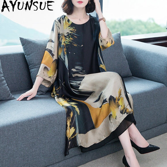 Summer Dress 2020 Woman Silk Floral Plus Size Dress Elegant Long Beach Vintage Dresses for Women Clothes Vestido De Mujer KJ