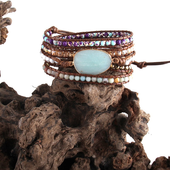 RH Fashion Women Leather Armbander Handmade Mixed Beaded Natural Stones Crystal 5 Strands Wrap Bracelets DropShip