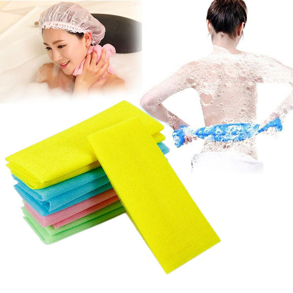 1PC Nylon Exfoliating Skin Bath Shower Body Washing Cleaning Scrubbing Towel Scrubbers Random Color Body Cleaning Towel Tool