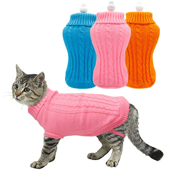 Pet Cat Sweater Winter Warm Cotton Cat Clothes Kitten Coat Jacket Knitted Kitty Sweaters Pet Dog Clothing for Small Dogs Cats