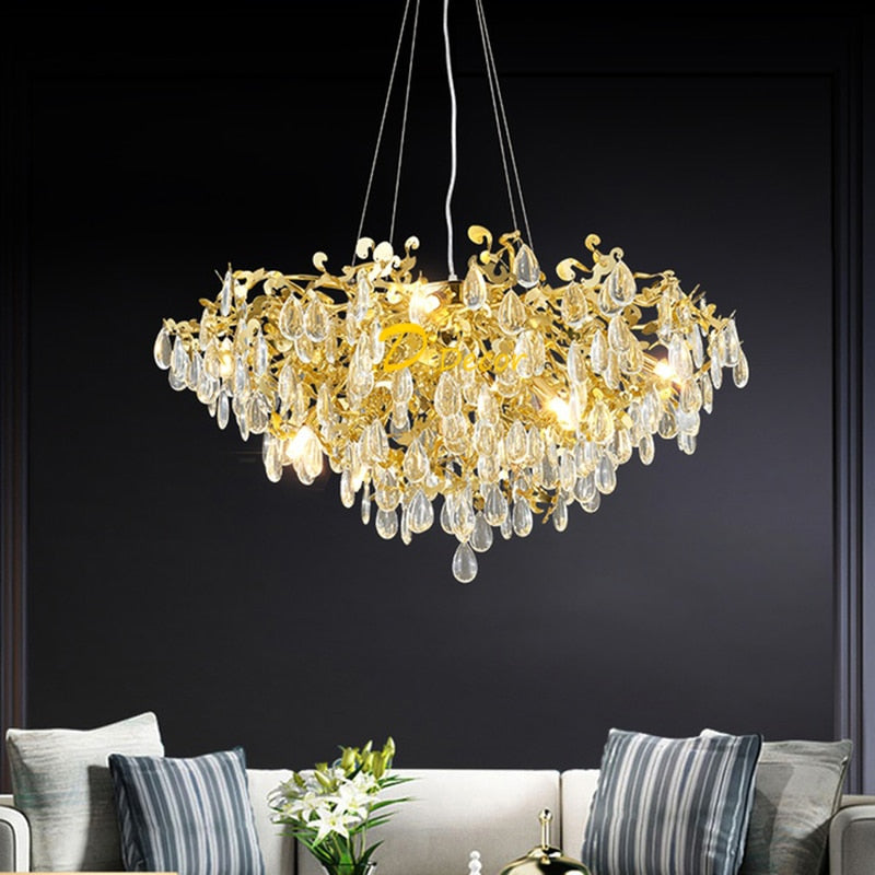 Nordic Luxury Chandelier Lighting LED Crystal Chandeliers Lamp Living Room Decorative Light Lobby Dining Room Hanging Lamp