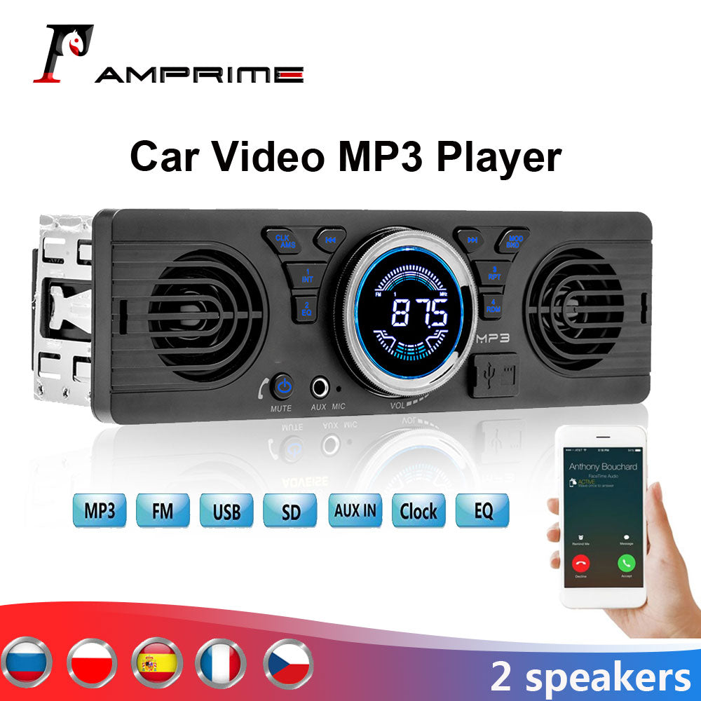 AMPrime MP3 Auto Bluetooth LCD Display Multimedia Vehicle Car Radio Audio Player In Dash Stereo Electronics 2 Speaker Accessorie