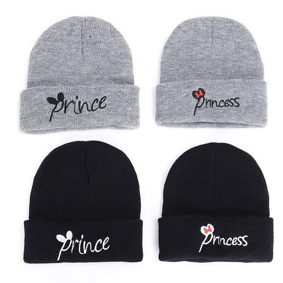 prince princess embroidered children hat autumn winter hats warm knitted baby boy girl  fashion toddler kids cap