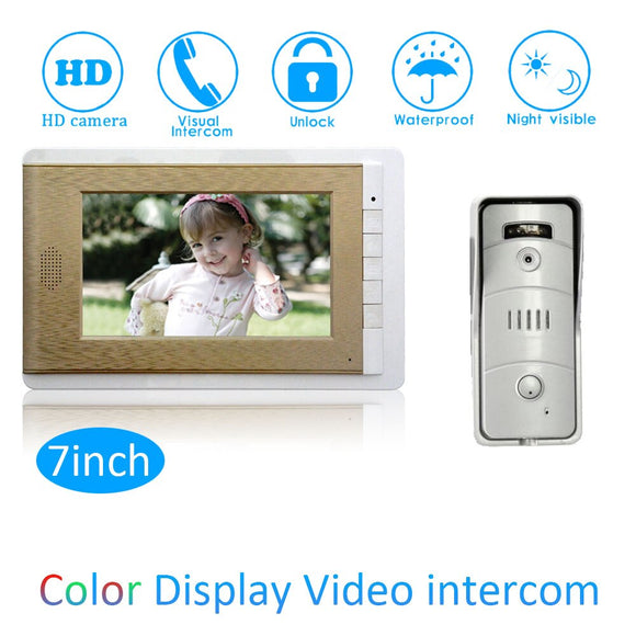 7 inch Smart doorbell ring Building wired video door phone unlock intercom system one to one waterproof camera door bell