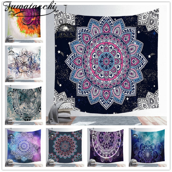 Fuwatacchi Mandala Indian Tapestry Wall Hanging Bohemian Beach Towel Polyester Thin Blanket Yoga Shawl Mat Blanket 95x73cm