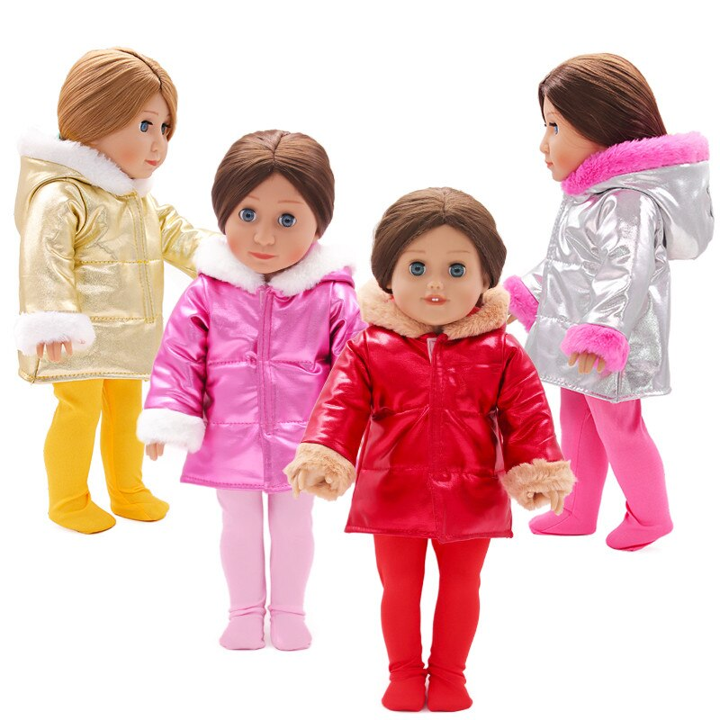 Fit 18 inch Baby New Born Doll Clothes Accessories 43cm Red Gold Yellow Hat Autumn Winter Down Jacket For Baby Birthday Gift