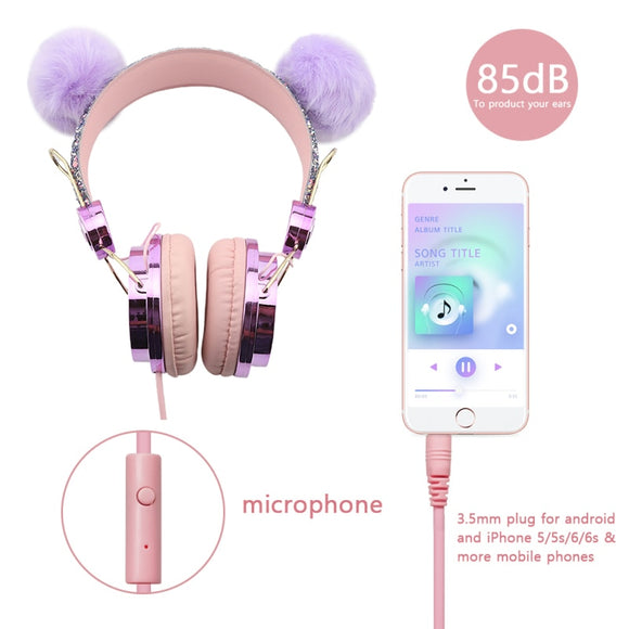Cute Fashion Over Ear Wired Headphones 3D Stereo Earphone With Mic Headset Audio Jack For Xiaomi Huawei Phone PC For Girls Kid