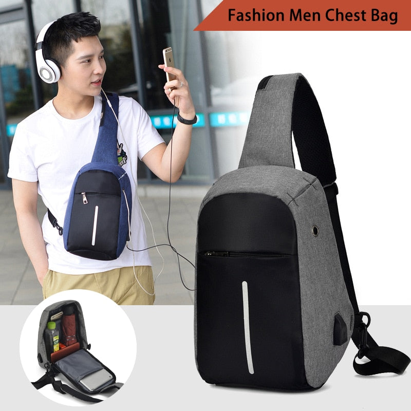 Fashion Men Crossbody Chest Bags Portable chest pack Outdoor Sports USB Charging Headphone Plug Sling Bag Shoulder Messenger Bag