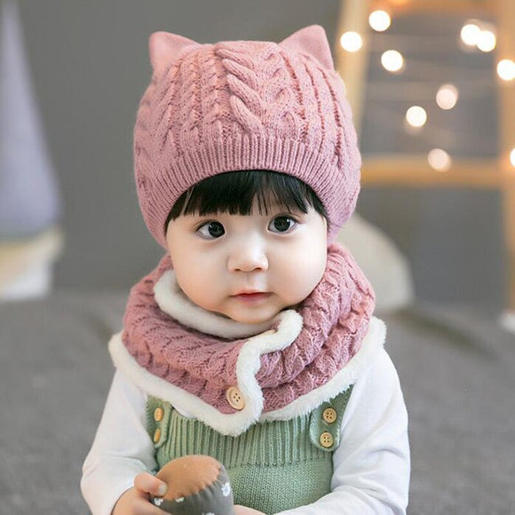 Autumn And Winter Caps Solid Color Hats Twist Wool Hat Scarf Set For Baby And Child Apparel Clothing Accessories