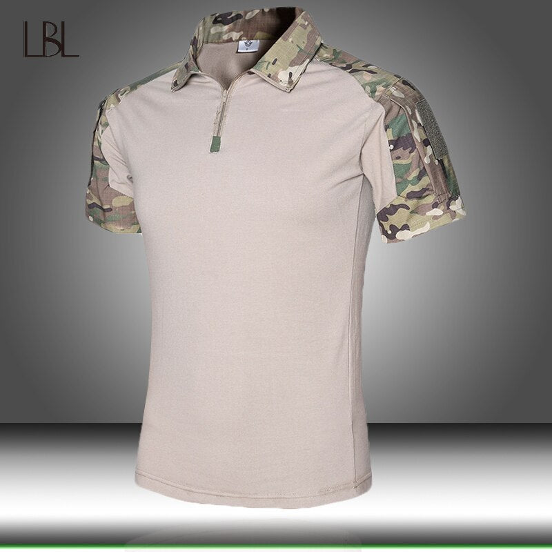 Men Outdoor Tactical Military Camouflage T-shirt Mens Summer Breathable Army Combat Cargo T Shirt Man Quick Dry Camo Hiking Tee