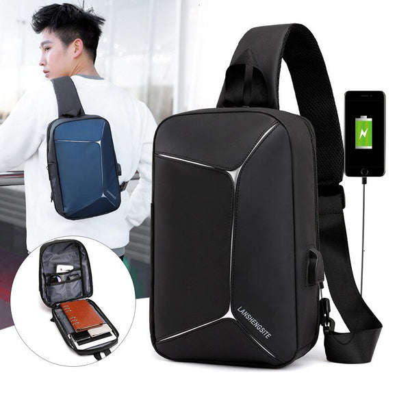 External USB Charge Chest Bags Male Men Chest Waist Pack Antitheft Travel Crossbody Bags For Men Sling Shoulder Bag Wallet