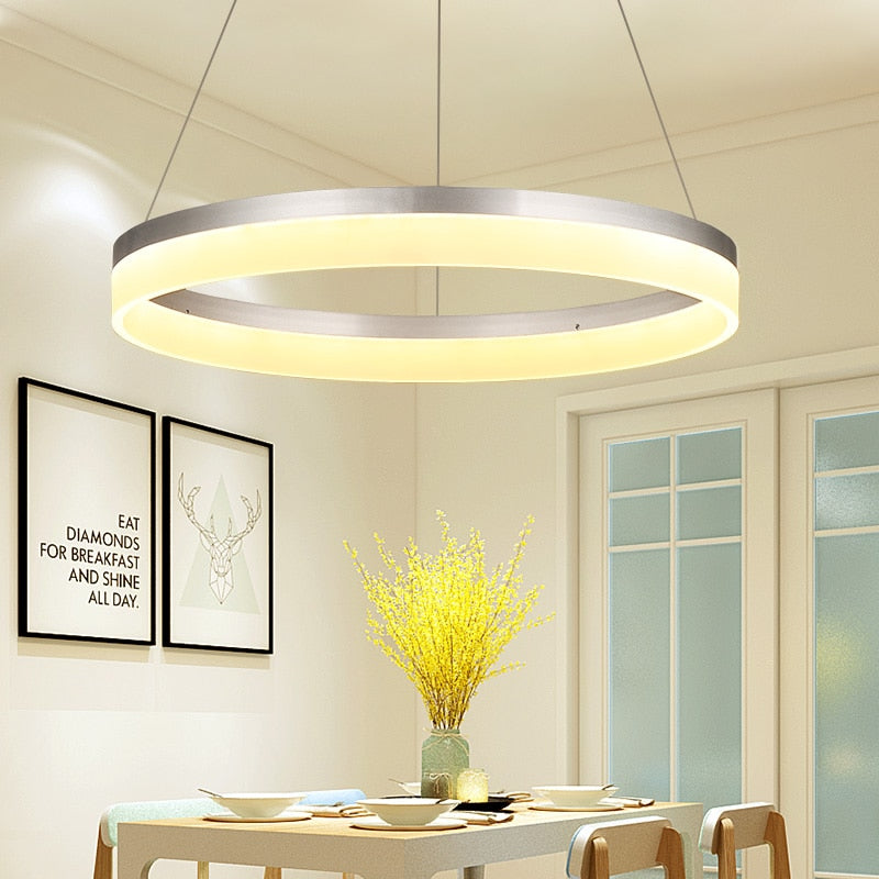 Silver Finish Circle Rings Modern Led pendant lights for dining room Kitchen Room Bar acrylic Aluminum Pendant Lamp Fixtures
