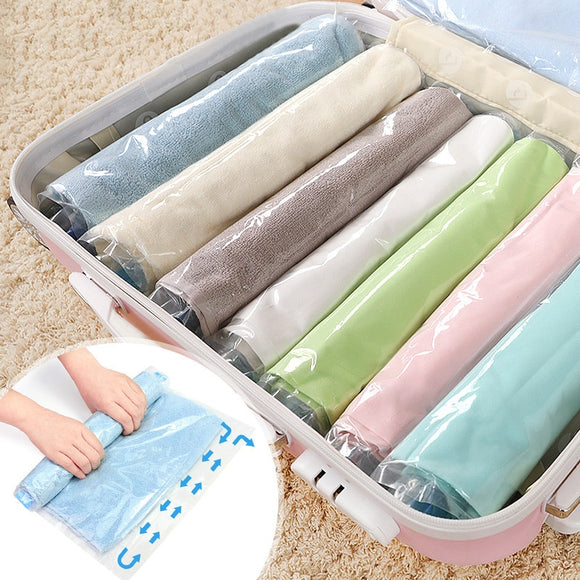 Clothes Compression Storage Bags Hand Rolling Clothing Plastic Vacuum  Storage Bag Travel Space Saver Bags for Luggage 4 sizes