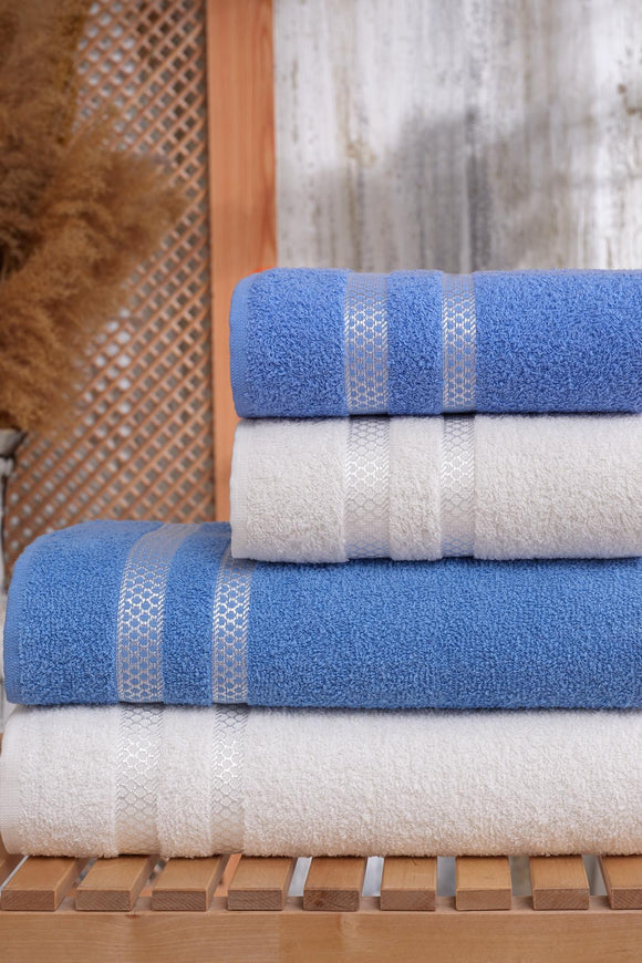 4pcs Turkish Towel Set 100% Cotton 2 pcs Bath Beach Towels and 2 pcs Hand Face Towels Set | hotel & Spa Quality Highly Absorbent