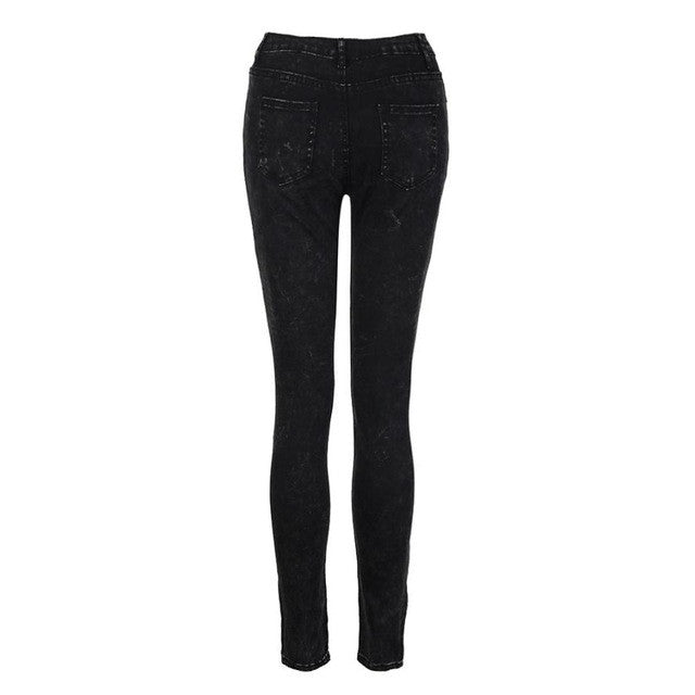 Fashion Women Jeans Flat Skinny Mid Waisted Elasticity Cool Zipper And Button Slim Fit Laies Pencil Pants #LSIW