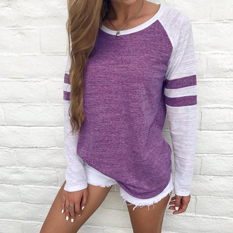 Long Sleeve Striped Patchwork Tee