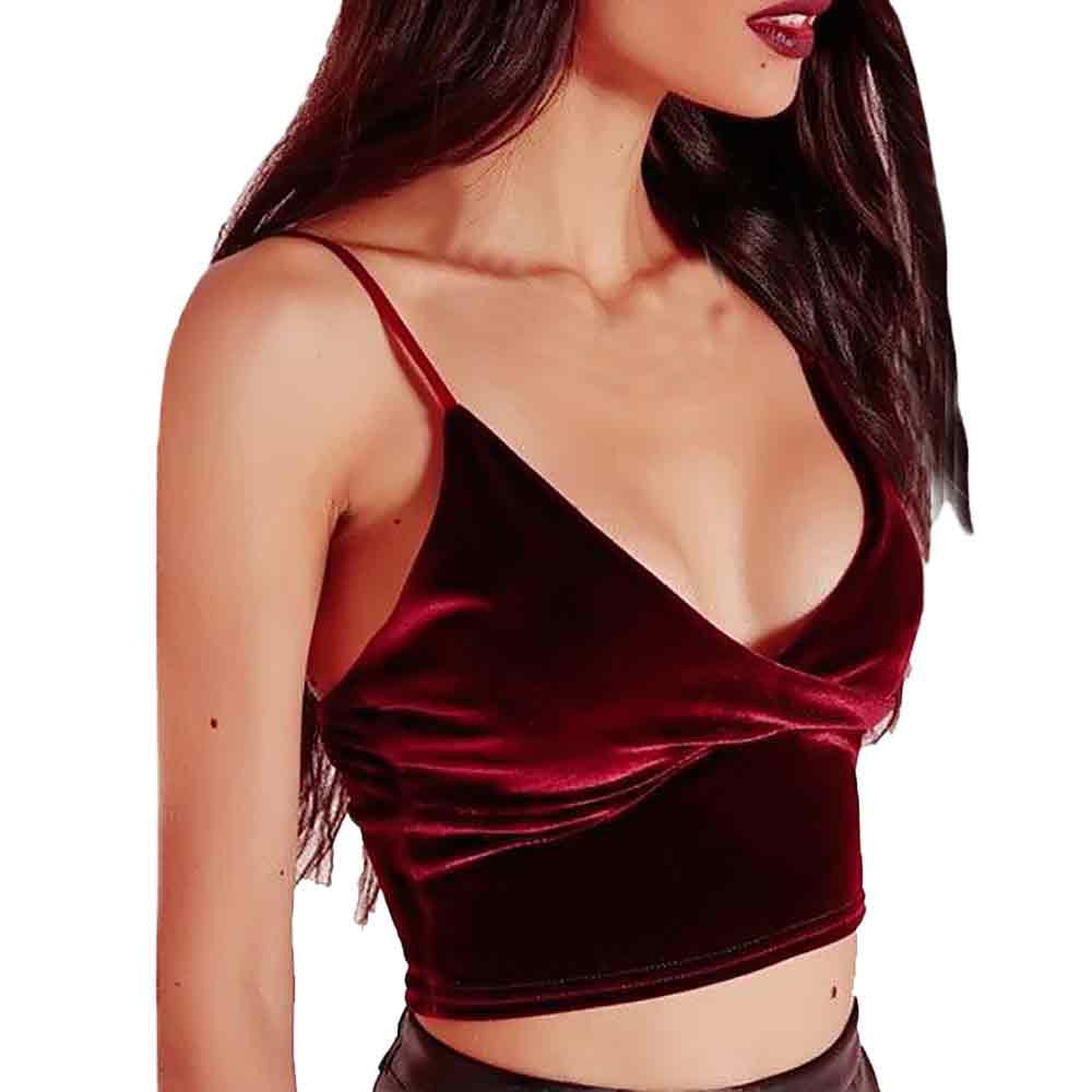 Red Velvit Crop Top