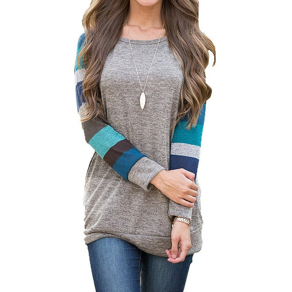 Womens Casual Pullover Sweatshirt Long Sleeve Patchwork Lightweight Blouse Spring Cute Tops for Girls