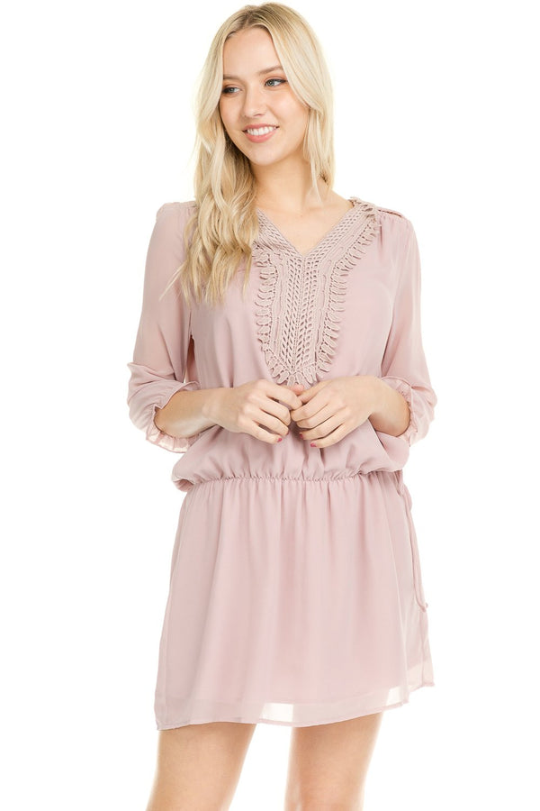 Women's Three Quarter 3/4 Sleeve Crochet Tie Dress