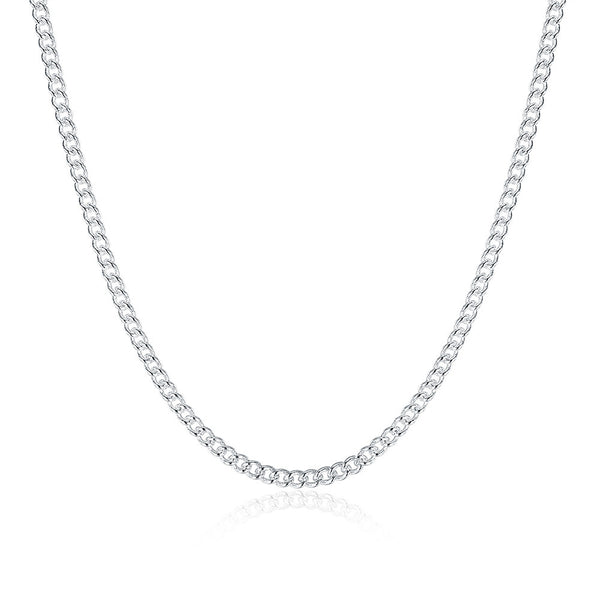 White Gold Plated Fiagro Chain / Cuban Chain Unisex