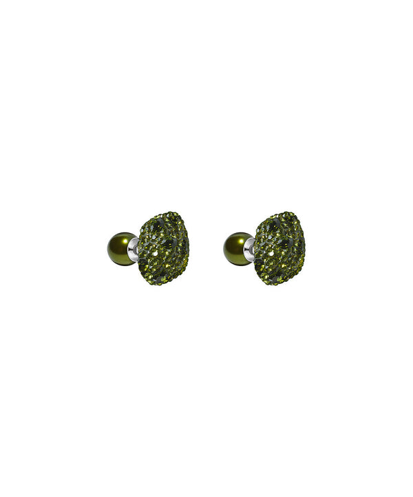Made with Swarovski Crystal Double Stud Earring - Green