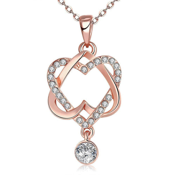 Gold Plated Double Heart with CZ Drop Necklace