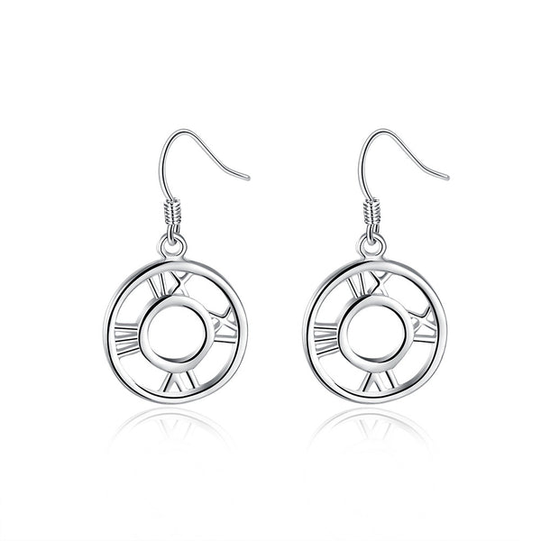 18K White Gold Plated Roman Numerals Drop Earring