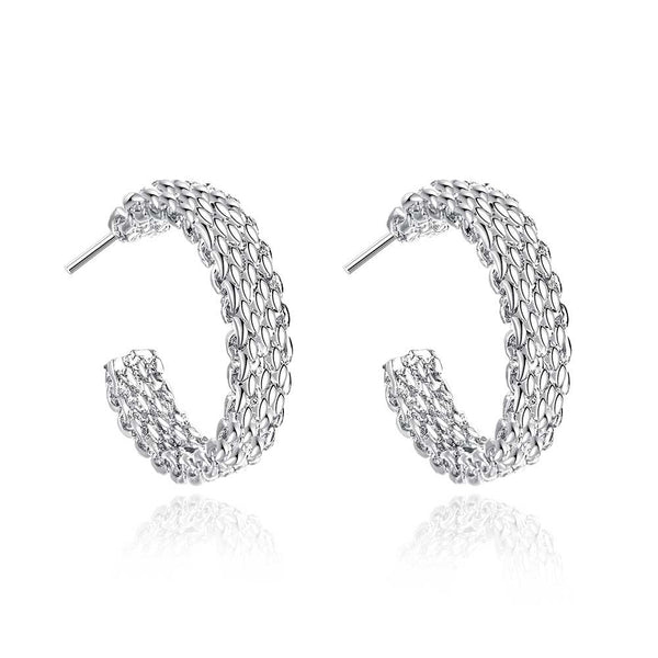 18K White Gold Plated Wired Half Cut Hoops