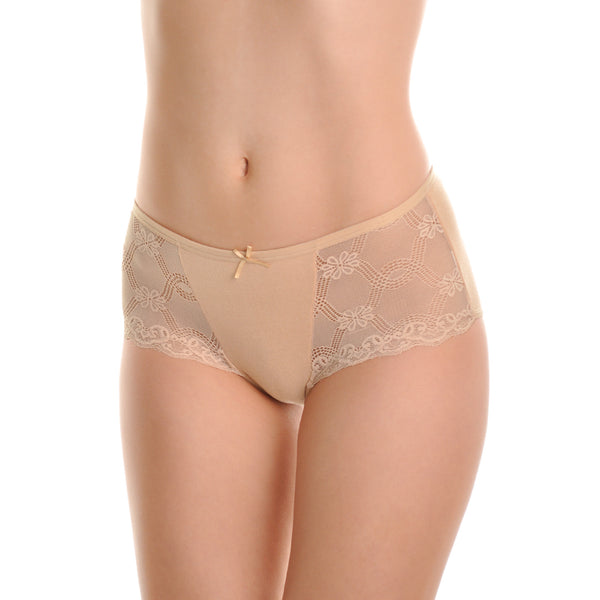 Angelina Cotton Mid-Rise Briefs with Scallop Lace Sides (6-Pack)