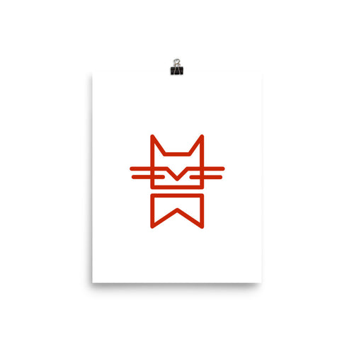 MINIMAL CAT RED Poster