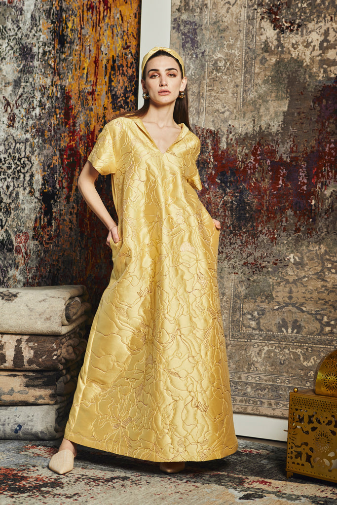 ABSTRACT Kaftan- Yellow