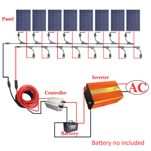 800W Solar Panel Kit: 8*100W Solar Panel w/ 3KW Inverter 12V Battery Off GridSystem