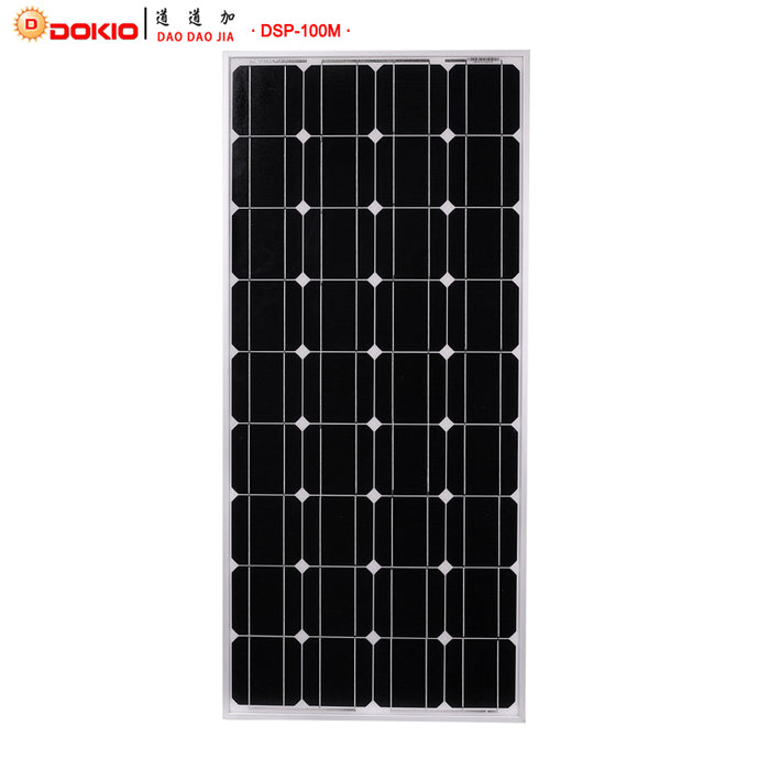 Dokio Brand Solar Panel China 100W Monocrystalline Silicon 18V 1175x535x25MM Size Top quality Solar battery China #DSP-100M