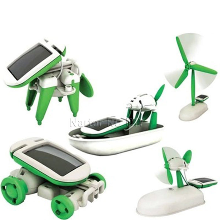 New Hot 6-In-1 Power Solar Transformation Robot DIY Toy Solar Battery Powered Transform Educational Learning Gift for Kids Child