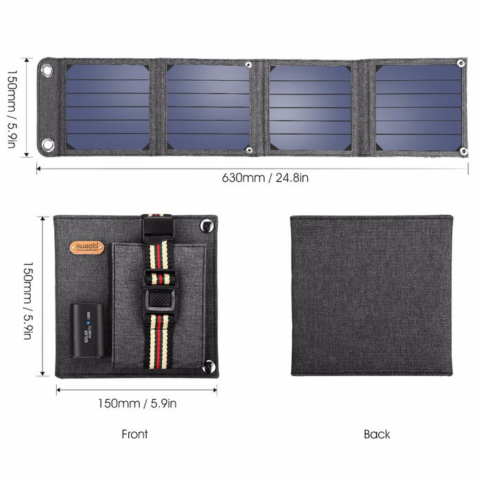Folding Solar Panel Portable Power Bank for Smartphones & Laptop : 14W, 5V