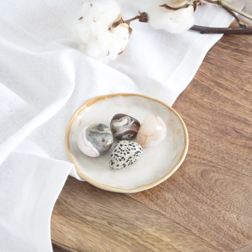 Ceramic Trinket Dish - White Wash