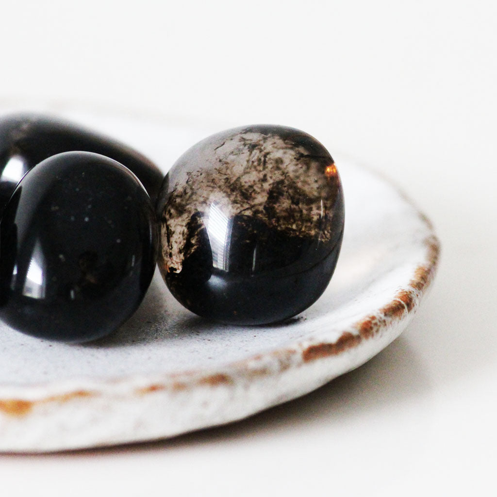 Smoky Obsidian Tumbled Stone  (man made)