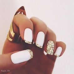 French Gold Tip With White nail design