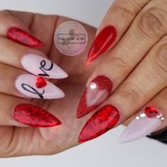 Letter Stiletto Valentine's Nail Art Idea