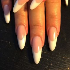 French Almond Nail Design