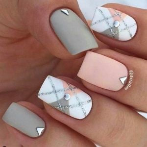 Matte Silver Plaid Nail Design