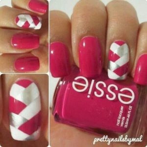 Pink and silver nail designs