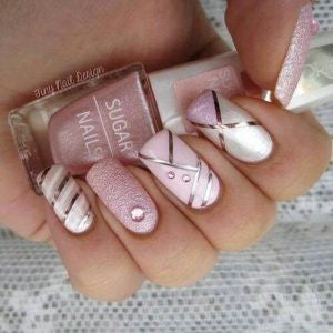 Rhinestone glitter pink and silver nail design