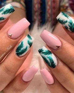 Summer leaf style nail design